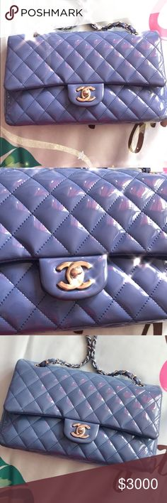 7c617488ad38 Chanel classic 2.55 bag CHANEL MEDIUM blue purple QUILTED PATENT CLASSIC  DOUBLE FLAP