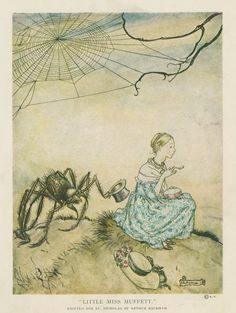 Little Miss Muffett. (1913), by Arthur Rackham