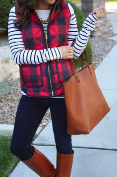 Buffalo check vest, striped long sleeve tee, and brown tote...love it! I want this look!