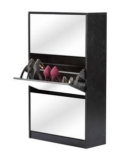Calypso Contemporary Tall Mirrored Shoe Cabinet