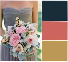 In love with these colours! navy blue gold coral wedding colour scheme theme beautiful fall