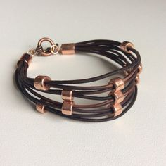 Beaded copper and leather bracelet - leather bangle cuff - leather bracelet womans handmade by rubybluejewels