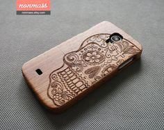 Skull phone case - wood Galaxy S5 case - Wood Galaxy S4 case - wooden Samsung Galaxy S3 case - Natural wood - Sugar skull - Walnut - 150008