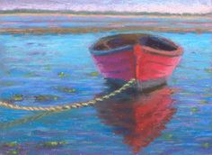 paintings of sailboats | Miniature Cape Cod Red Boat Pastel Painting by Poucher