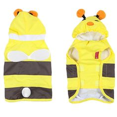 Allisandro and Pet Cool Bee-like Pet dog Clothing Waterproof Jacket Coat Fashionable Dog Legs Poncho Pet Jumpsuit Raincoat Yellow => For more information, visit now : Dog coats