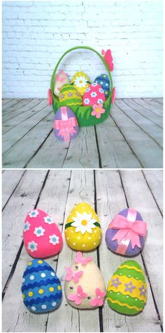 Easter Eggs Ornaments Spring Decor Set 6 Pieces Easter Basket Decorative Felt Cute Eggs Easter Gift For Kids Handmade Holiday Decorations (24.00 USD) by BelkaUA