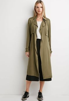 $47, Forever 21 Life In Progress Open Front Trench Coat. Sold by Forever 21. Click for more info: https://lookastic.com/women/shop_items/330353/redirect
