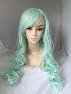 dark roots pastel silver blue wig long curly hair long. Black Bedroom Furniture Sets. Home Design Ideas