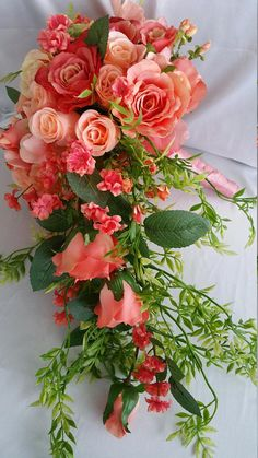 Items similar to Bridal Cascade Bouquet Free Boutonniere Coral Peach Discount Package Available, Pick Colors Flower Ribbon, Roses Realistic Handmade Original on Etsy Bridal Bouquet Coral, Coral Wedding Flowers, Cascade Bouquet, Peach Flowers, Bridal Flowers, Bride Bouquets, Flower Bouquet Wedding, Floral Wedding, Diy Wedding
