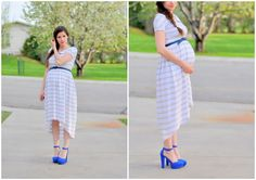 Maternity striped knit dress: great little tutorial with peter pan collar and angle skirt