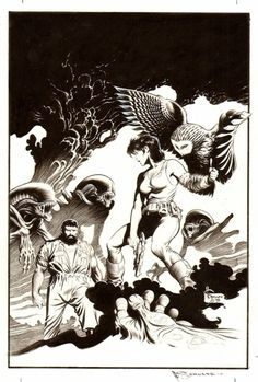"""Mark Schultz's cover for an """"Aliens""""-related comic."""