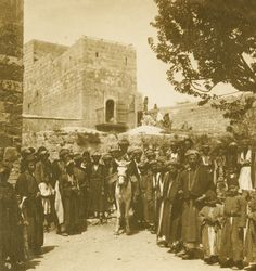 Ramallah-رام الله: A WEDDING AT RAMALLAH, PALESTINE (ca. 1900) - Bridegroom procession