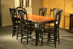 black leg barn table | Barn Wood Pine Dining Table With Brown Cherry Finish With Black French ...