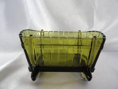 Indiana glass planter in avacado is cradle by VintageAdorables, $6.00