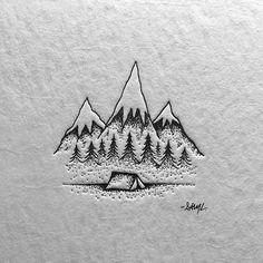 Illustration, mountain, tent, logo in Illustration
