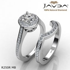 Filigree Pave Halo Bridal Set Round Diamond Engagement Ring 14k White Gold.
