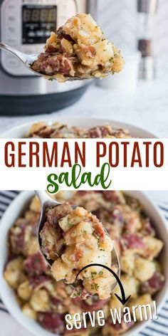 Tender potatoes tossed with bacon in a tangy dressing taste delicious alongside just about any main course. Learn how to make German Potato Salad in the Instant Pot as a side dish for your next family meal! Potato Sides, Potato Side Dishes, Veggie Side Dishes, Vegetable Dishes, Food Dishes, Instant Pot Potato Recipe, Instant Recipes, Instant Pot Dinner Recipes, Instant Pot Pressure Cooker