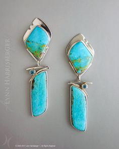 LOVE these !! - Sterling Silver, Turquoise & Blue Topaz Earrings