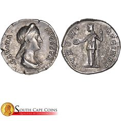 This is a beautiful Sabina, Wife of Hadrian coin. This is a AD Roman mint. Roman, Coins, Personalized Items, Beautiful