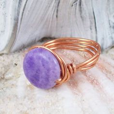 Passionate Ring  amethyst stone by MySoulCanDance on Etsy, $12.00