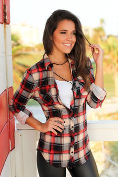 Red and Taupe Plaid Top