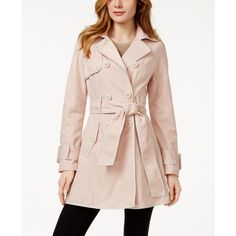 Betsey Johnson Corset-Back Skirted Trench Coat ($150) ❤ liked on Polyvore featuring outerwear, coats, betsey johnson coats, pink trench coat, pink coat, trench coat and betsey johnson
