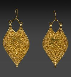 Northwest India | Ear ornaments from Himachal Pradesh | 22k gold with filigree | Early 20th century | An ear wire has been added to make these ornaments wearable. | Sold