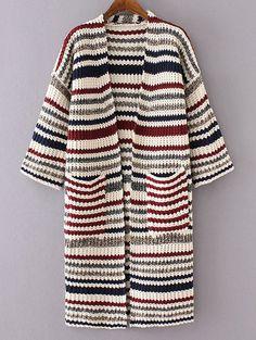 holiday striped hand knit midi cardi