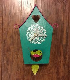 OXIDOS WHIMSICAL BIRDHOUSE WITH BIRDIE PENDULUM CLOCK - LIMITED EDITION #Handmade