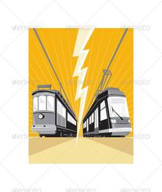 Realistic Graphic DOWNLOAD (.ai, .psd) :: http://vector-graphic.de/pinterest-itmid-1002120924i.html ... Vintage and Modern Streetcar Tram Train ...  bolt, electric train, illustration, lightning, modern, rail, railroad, railway, retro, streetcar, sunburst, train, tram, transport, transportation, vehicle, vintage  ... Realistic Photo Graphic Print Obejct Business Web Elements Illustration Design Templates ... DOWNLOAD :: http://vector-graphic.de/pinterest-itmid-1002120924i.html