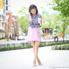 Casual outfit - scallop skirt and gingham shirt
