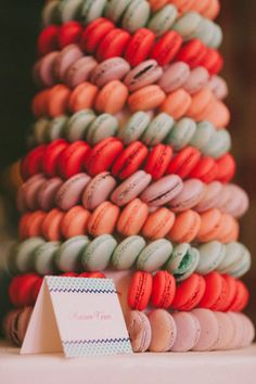 Tempting tower of macarons. #wedding #zappos