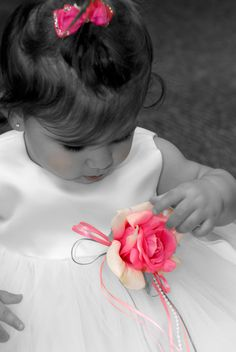 wedding picture idea-flower girl black and white with pink only