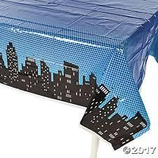 Superhero Plastic Table Cover - Night Sky Skyline - Coordinate for Captain Underpants party decorations