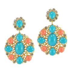 Vintage KJL Gold Filigree Coral Turquoise Earrings