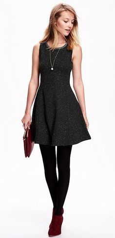 If you're searching for the perfect Valentine's Day date dress, look no further. Meet the MVP of LBDs: our women's fit and flare french terry dress in speckled black. We're fawning over this fashionable and flattering frock.