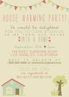 House Warming Party Invitation - Printable, Custom. DIY - VINTAGE, RUSTIC. $12.00, via Etsy.