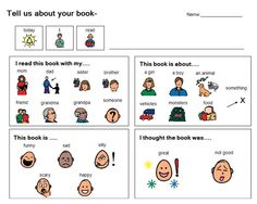 Visual support and structure for book reports. Never to early to start.  Boardmaker Share