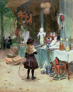 At the Champs-Elysees Gardens by Victor Gabriel Gilbert