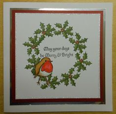 Stamp Addicts - Holly set and 3 Robins unmounted rubber stamps designed by Lesley Crawford.