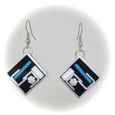 Enamel Square Earrings – Banoja