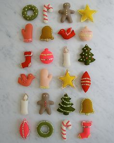 Christmas in July! Our Advent Calendar Kit andPattern - The Purl Bee - Knitting Crochet Sewing Embroidery Crafts Patterns and Ideas! Felt Christmas Ornaments, Christmas In July, Handmade Christmas, Christmas Crafts, Christmas Decorations, Handmade Ornaments, Christmas Placemats, Fabric Ornaments, Beaded Ornaments