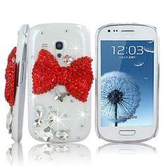 Transparent 3D Strass Bling Glitzer Edelstein Tasche Hülle für Samsung Galaxy S3 Mini SIII I8190 Etui mit Rot Bow Tie Red Schleife Kristall Diamant Skin Schutzhülle Case Cover , http://www.amazon.de/dp/B00EEUL4YI/ref=cm_sw_r_pi_dp_ebjgsb1S73TSB