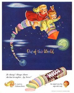 Necco Wafer advertisement. Illustration by Sheilah Beckett. Necco wafers are the worst candy EVER.