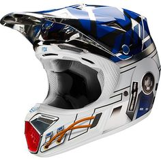 Fox Racing V1 YOUTH Off Road MX Helmet Star Wars R2D2 Blue White Silver Small