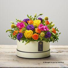Candy Pop Hatbox: Booker Flowers and Gifts. Basket Flower Arrangements, Candy Arrangements, Beautiful Flower Arrangements, Beautiful Flowers, Valentine Flower Arrangements, Flower Box Gift, Flower Boxes, Flower Shop Decor, Flower Catalogs