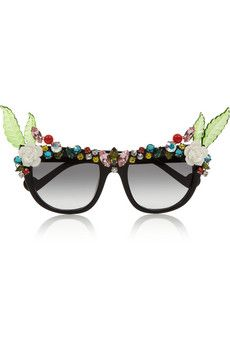 4bb257158d4 Anna-Karin Karlsson - Tropical Swarovski crystal-embellished D-frame  acetate sunglasses