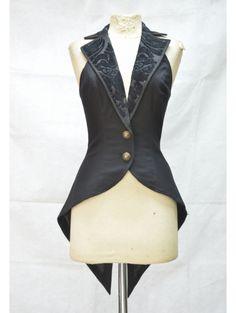 Black Tailcoat Style Gothic Waistcoat for Women