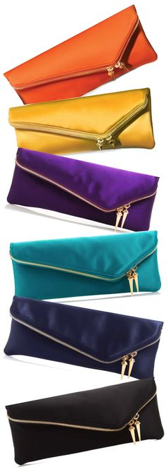 Henri Bendel Deb Slim Asymmetric Satin Clutch