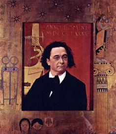 Reproduction de Klimt, Portrait de Joseph Pembauer. Tableau peint à la main dans nos ateliers. Peinture à l'huile sur toile.